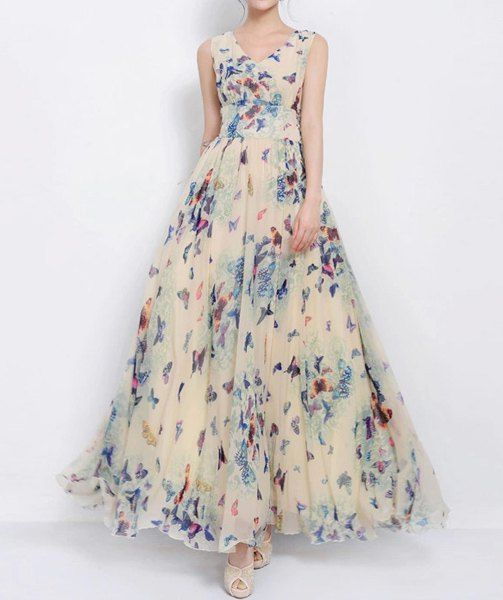 $14.76 Chic Style V-Neck Full Butterfly Print Lace Up Sleeveless Chiffon Dress For Women