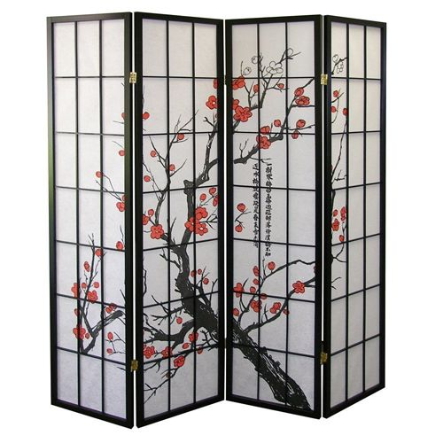 7. Roundhill Furniture Black Japanese 4-Panel Screen Room Divider
