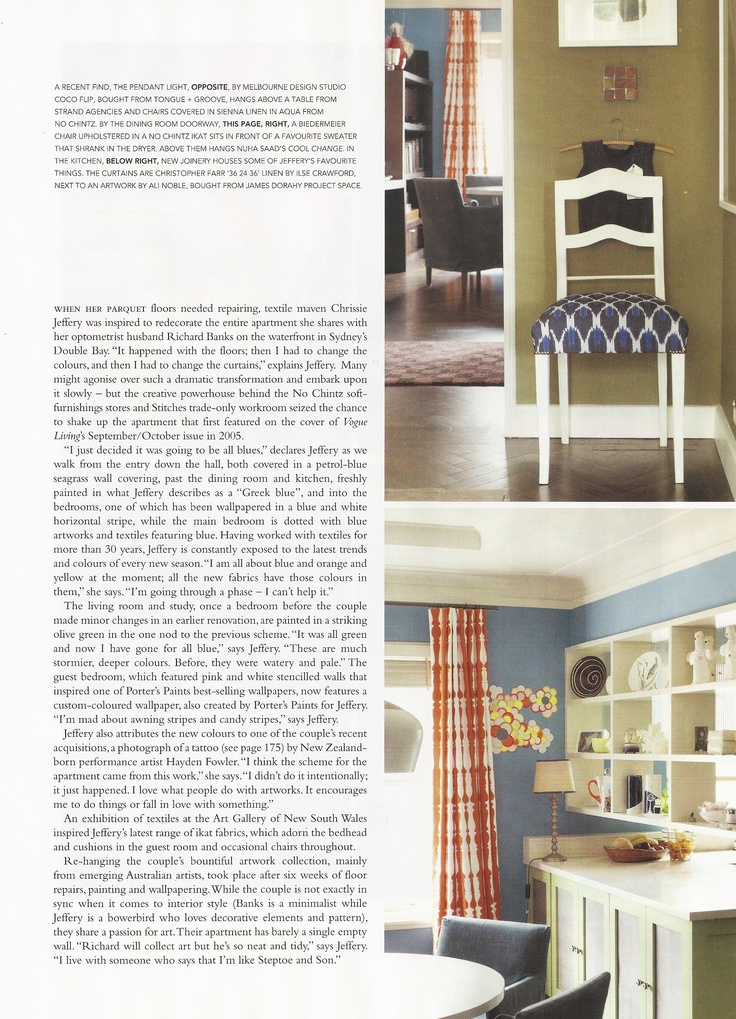 Chrissie's old apartment... as featured in Vogue Living 2011.