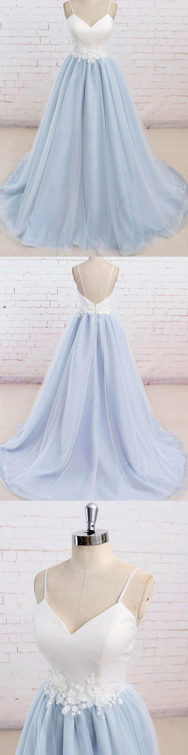 Spaghetti Straps Sweep Train Backless Lavender Tulle Prom Dress PG498 #prom #dress #evening #pgmdress #party #fashion