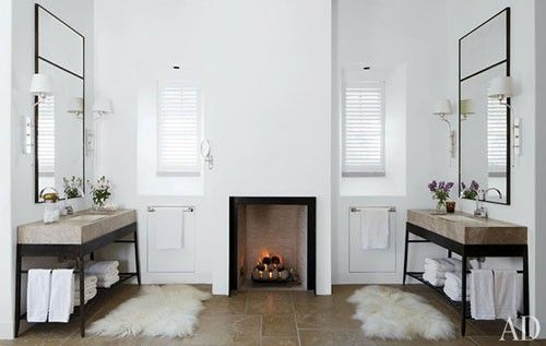 his and her bathroom + fireplace.: Powder Room, Interior, Idea, Fireplaces, Sink, Master Bath, House, Design