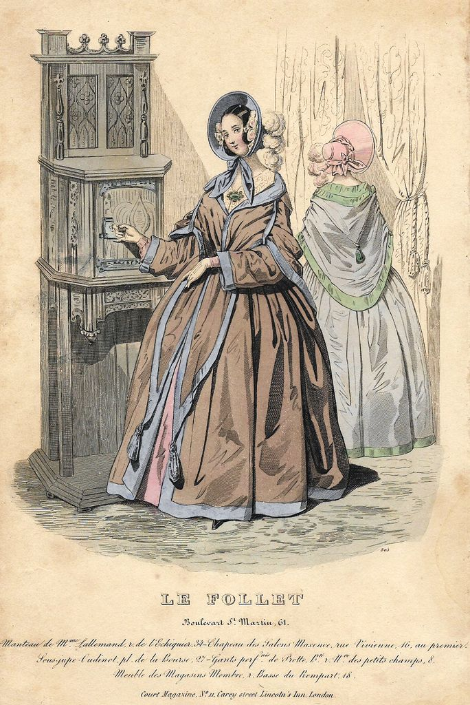 "Follet Fashion Plate - 1850 - ""MANTEAU DE MME. LALLEMAND"" -  H-C Lithograph"