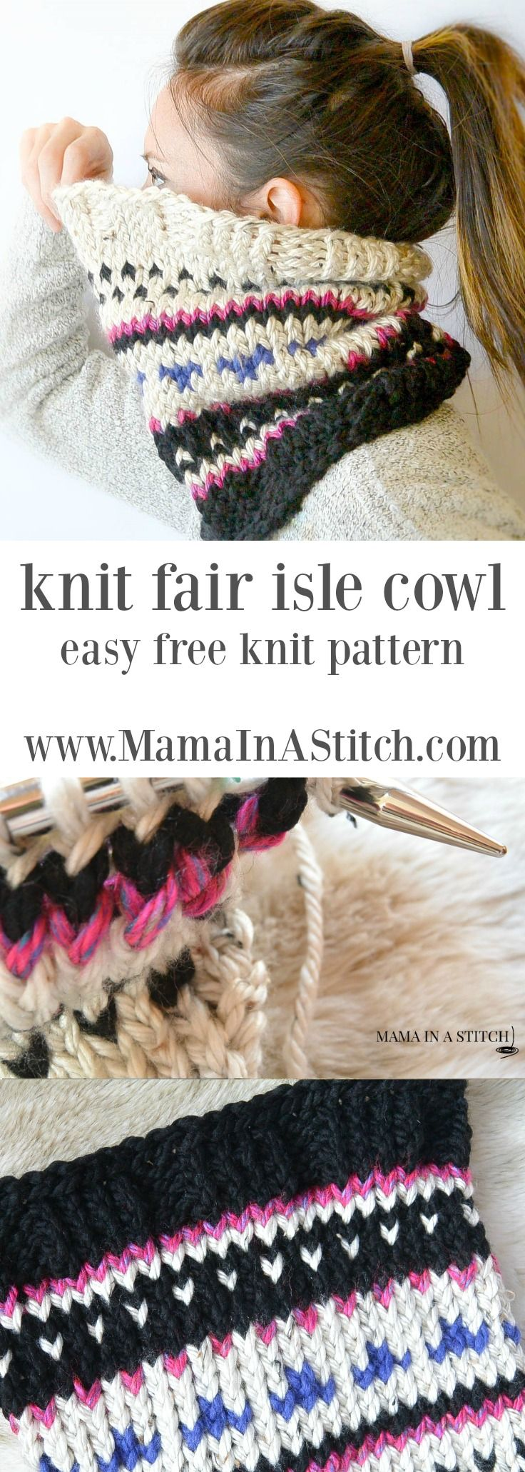 Alpine Heights Knit Fair Isle Cowl via @MamaInAStitch