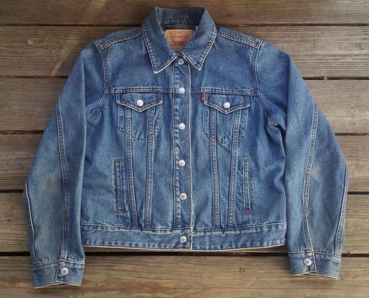 LEVIS Snap Button Denim Blue Western Biker Rockabilly Jean Jacket Women's XL #Levis #JeanJacket #Casual