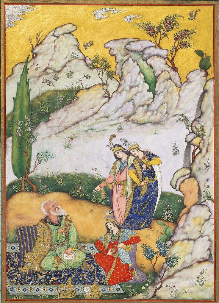 خیام؟، دیدار در سبزه زار ، محمدعلى اسماعیل زاویه؟ گواش، آبرنگ، طلا بر روی کاغذ نقاشی: 27.2 در 19.1 سانتیمتر برگ: 40.5 در 30.5 سانتیمتر Khayyám Artist: Muhammad ali Zavieh? A GATHERING AMID A ROCKY LANDSCAPE, PERSIA, CIRCA 1900 gouache heightened with gold on paper painting: 27.2 by 19.1cm. leaf: 40.5 by 30.5cm. چون لاله به نوروز قدح گیر بدست با لالهرخی اگر تو را فرصت هست می نوش به خرمی که این چرخ کهن ناگاه تو را چو خاک گرداند پست