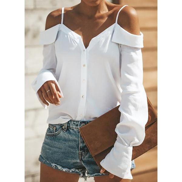 Damens Cold Shoulder T-Shirt Hollow Out Sommer lässig V-Ausschnitt Bluse