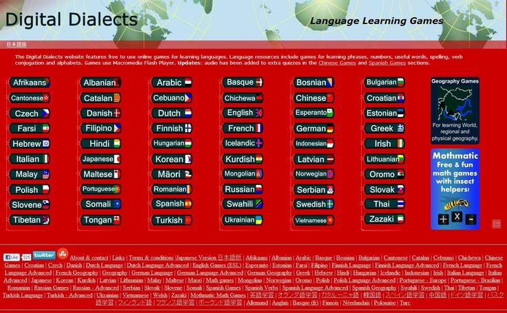 Free to use and fun online language learning games