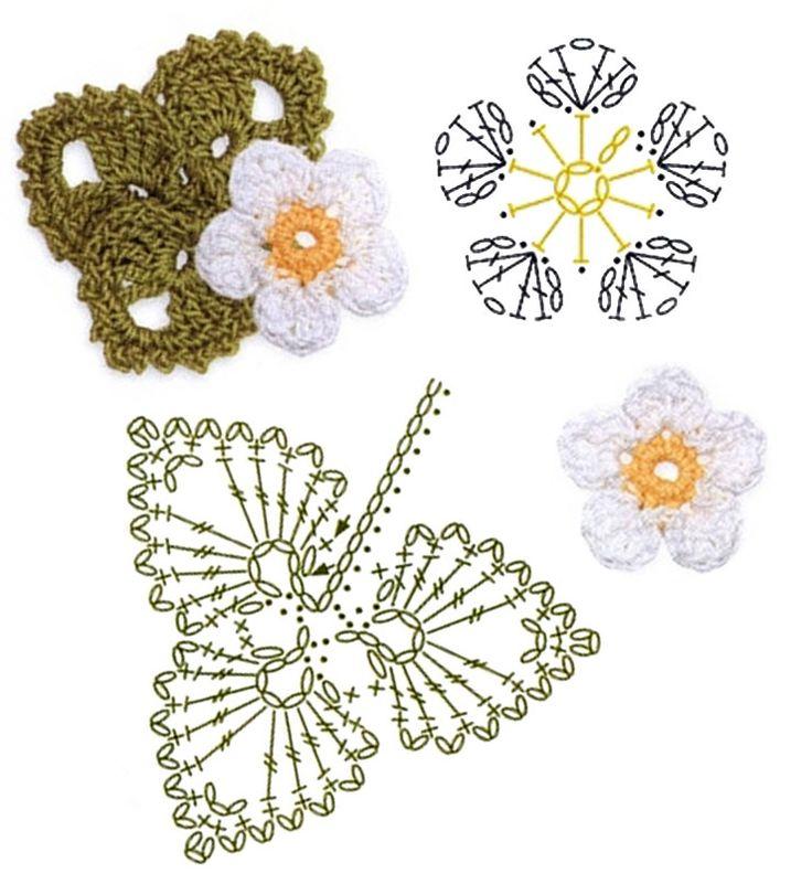 No.22 Strawberry Blossom Crochet Flower Motifs / 스트로베리꽃 코바늘 플라워 모티브도안