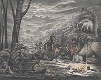 George Lacy, Capture of bushrangers at night by gold police, c. 1852.  Black Douglas's headquarters were three miles from the Alma goldfield near Maryborough, and his gang's method was to rob the diggers' empty tents during the day and the shops at night. He and his gang were captured when the diggers, fed up with the thieving, surrounded their tents and burnt them to the ground. Douglas was wounded, overpowered, and carted to Maryborough with an escort of more than 200 miners.