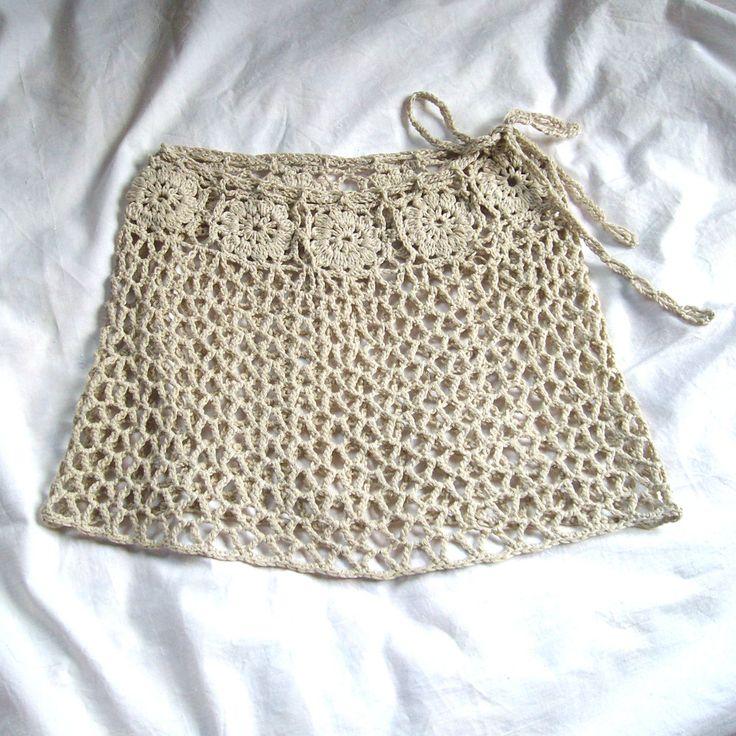 Mini falda de encaje  falda de ganchillo bege  ups de la