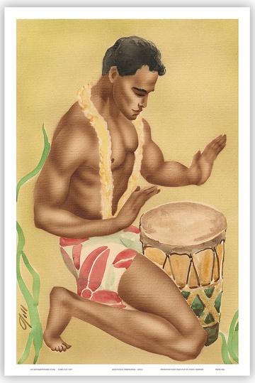HAWAIIAN HULA DRUMMER Art Deco Poster Print HAWAII Gill