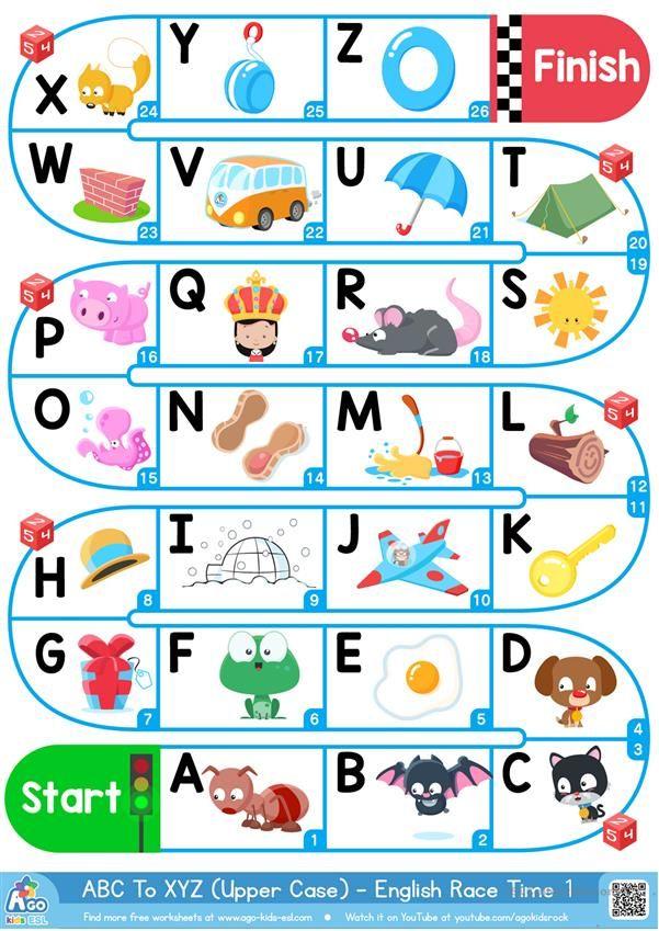 A-Z Upper Case Alphabet - ESL Board Game Worksheet - Free ESL Printable  Worksheets Made By Te… Alphabet Games For Kindergarten, Esl Board Games,  Alphabet For Kids