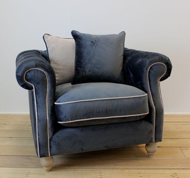 Valentina Chair Grey Velvet w/Linen Sand from Villa Maison #americanstyle #classic #interiors #design