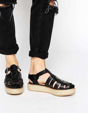 New Look Kaught Black Caged Espadrille Flatform Shoes