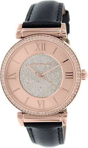 Michael Kors Watches Catlin Leather Watch (Black) ** Check this awesome product ...