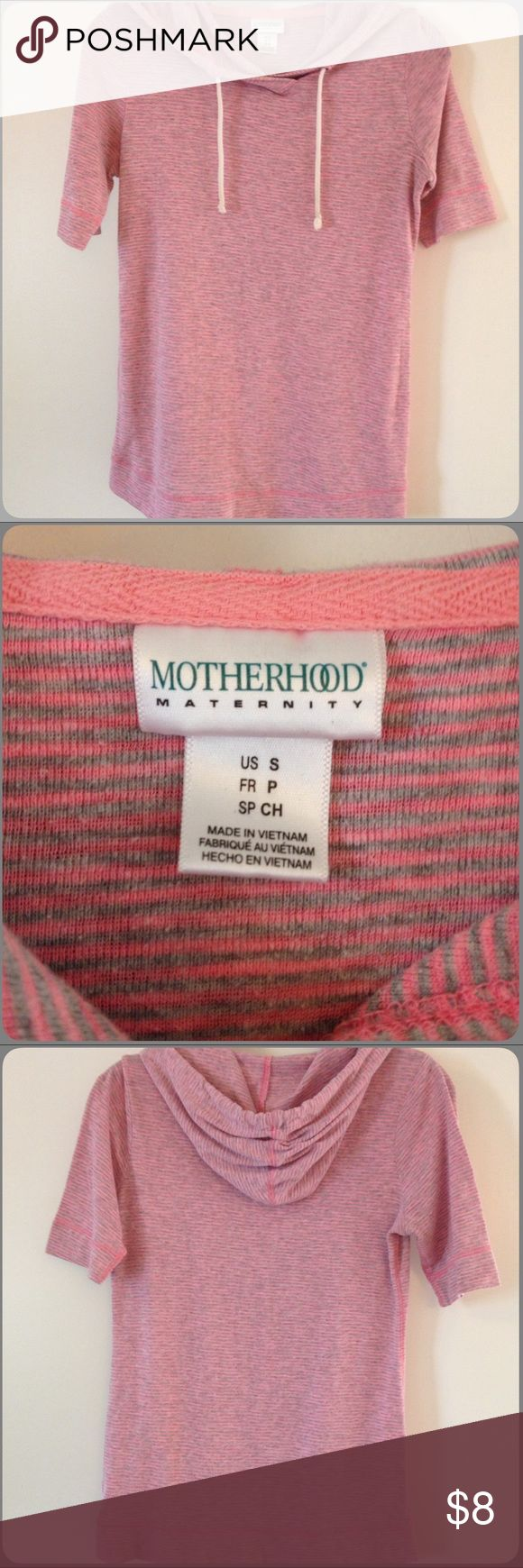 MOTHERHOOD Maternity Hoodie🐣 Cute & Cozy MOTHERHOOD Maternity Lightweight Short Sleeve Hoodie. Pink & gray stripes. Excellent condition. Worn 2 times. Size S (could also be worn by a woman who is not pregnant) Motherhood Maternity Tops Sweatshirts & Hoodies