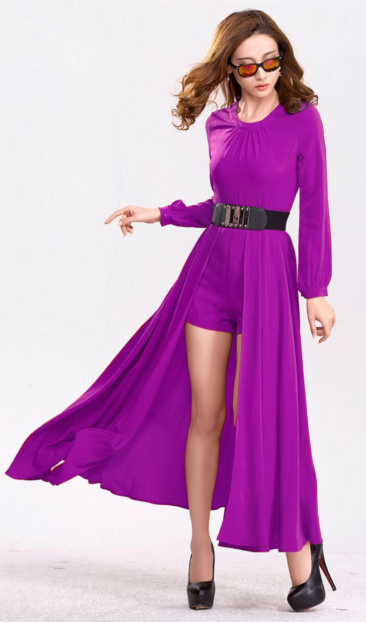 Women Stylish Long Puff Sleeve Chiffon Ankle Length Dress ...