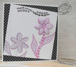 A handmade card stamped using Junes Monthly Make from Crafty Roo Designs