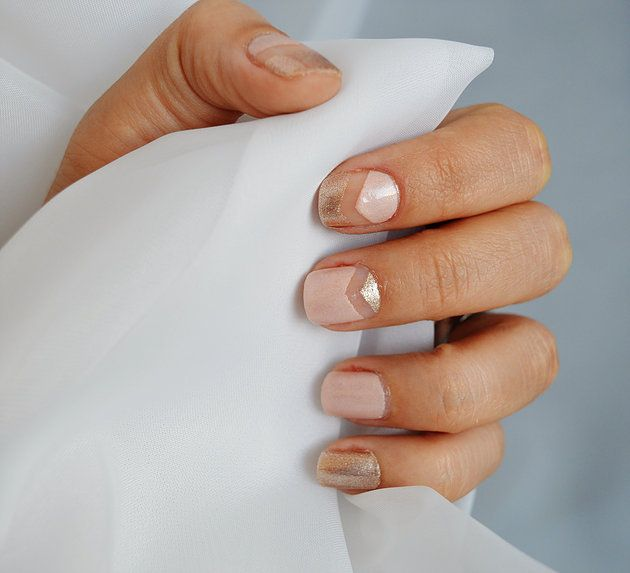 Nail Art Satin finish Gold Finish Manicure design