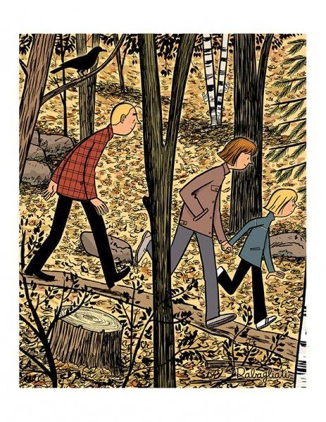 Balade en forêt, affiche signée par Michel Rabagliati.