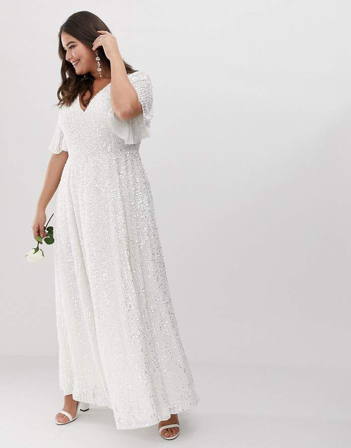 96ab2d450e12dd Asos EDITION Curve flutter sleeve sequin maxi wedding dress #Curve#flutter# Asos