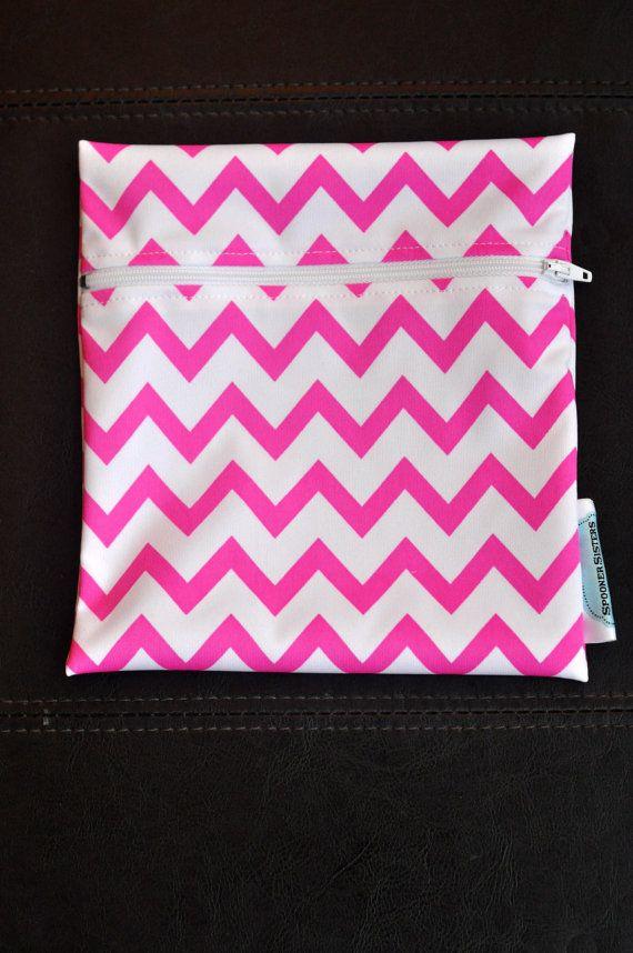 Hot Pink Chevron Reusable Waterproof by SpoonerSistersDesign, $8.00