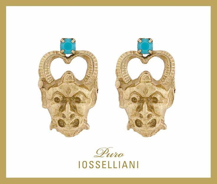 #satyr stud #earrings 18K gold plated silver studs, turquoise. #iosselliani