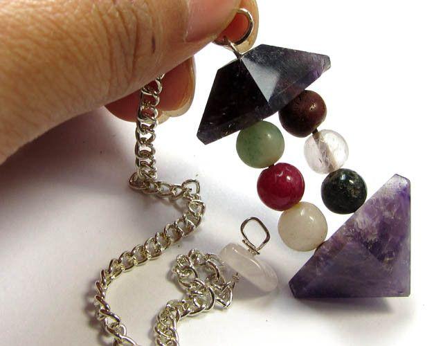 59 cts seven chakra silver pendulum gg 286
