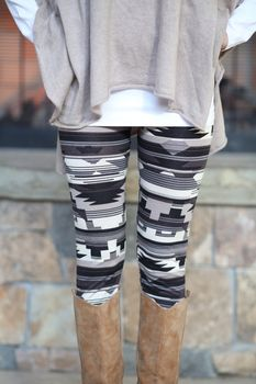 Gray Multi Colored Tribal Leggings by MVB Modern Vintage Boutique only $13.99