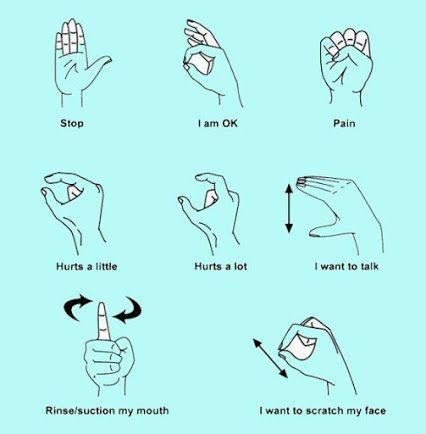 Basic dental sign language: stop, I am OK, pain, hurts a little, hurts a lot, I want to talk, rinse suction my mouth, and I want to scratch my face.   Dentaltown