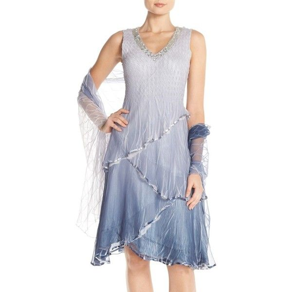 Petite Komarov Tiered Chiffon A-Line Dress & Shawl ($239) ❤ liked on Polyvore featuring dresses, petite, silver night, ruffle dress, wrap dress, sparkly dresses, v neck dress and petite dresses