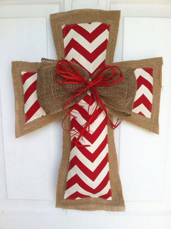 Large Red Burlap and Chevron Cross with bow.  Only on a wood cross...with spray adhesive, burlap and cardstock!