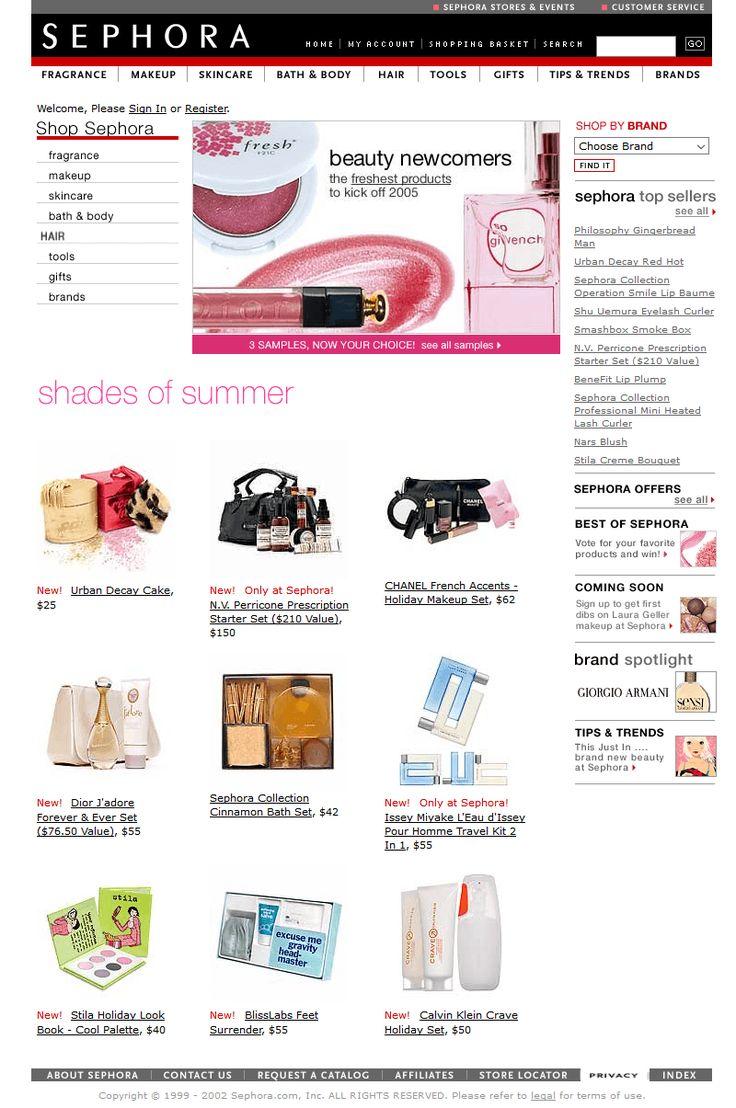 Sephora website in 2002