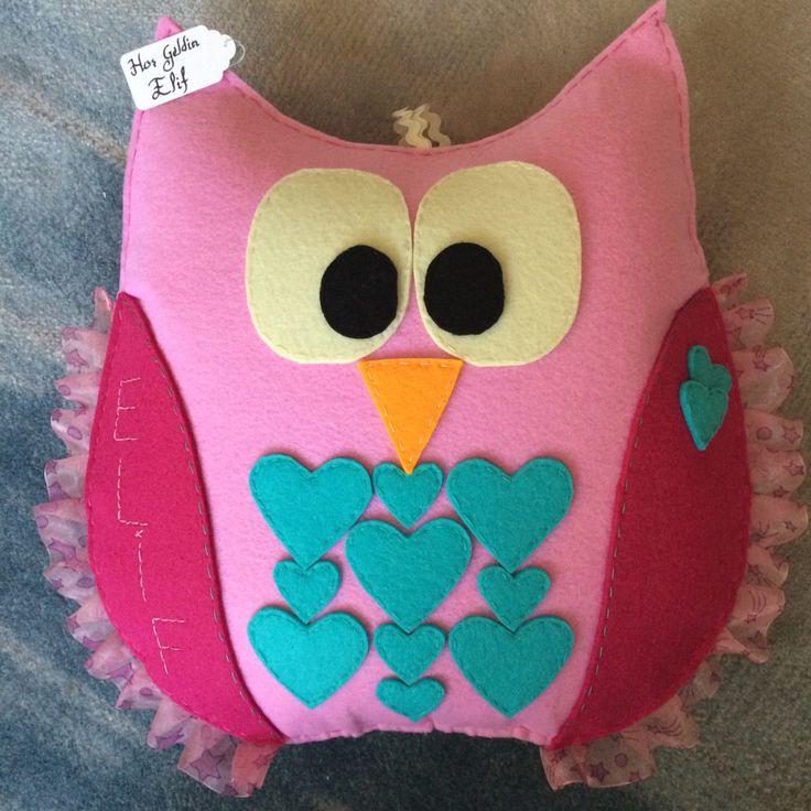 Dekoratif baykuş yastık... Felt pillow owl...