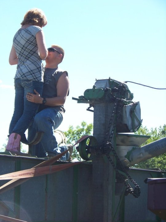 my wedding proposal at old threshers during a threshing