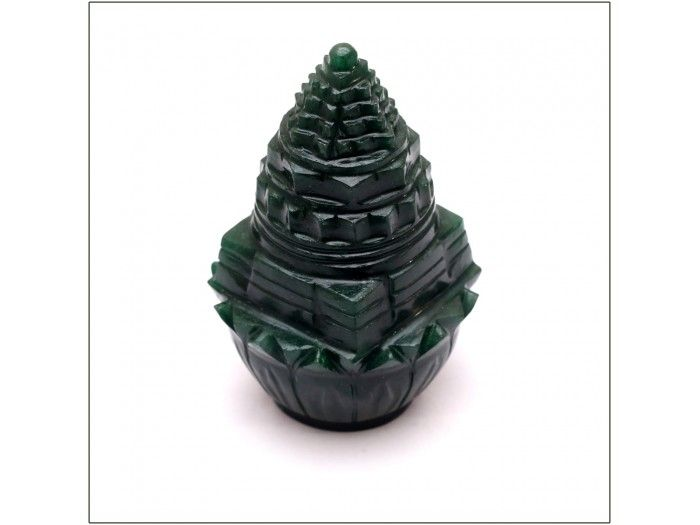 Shree yantra on lotus in green jade buy online from India | Vedicvaani.com, India's most trusted brand in world, free worldwide shipping.