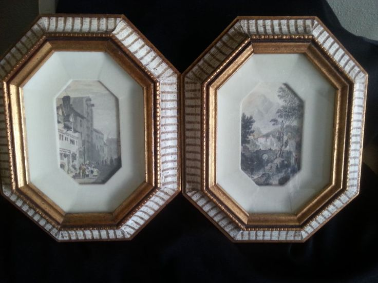 Vintage Gold and Cream Framed Art Deco Style Pictures