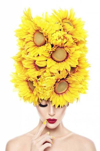 yellow flower hair