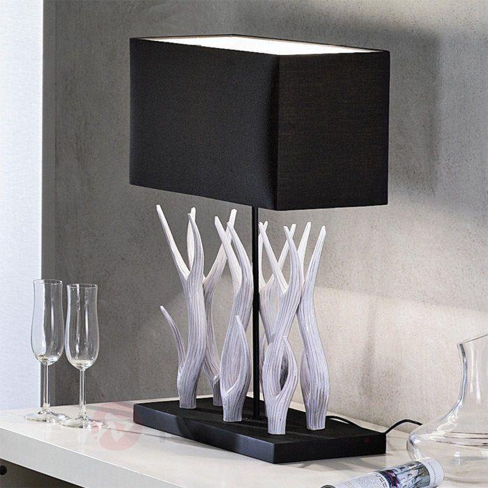 Lampe à poser Marlies avec boiserie décorative, référence 7254511 - Lampes et luminaires en bois  - Esprit nature à découvrir chez Luminaire.fr !