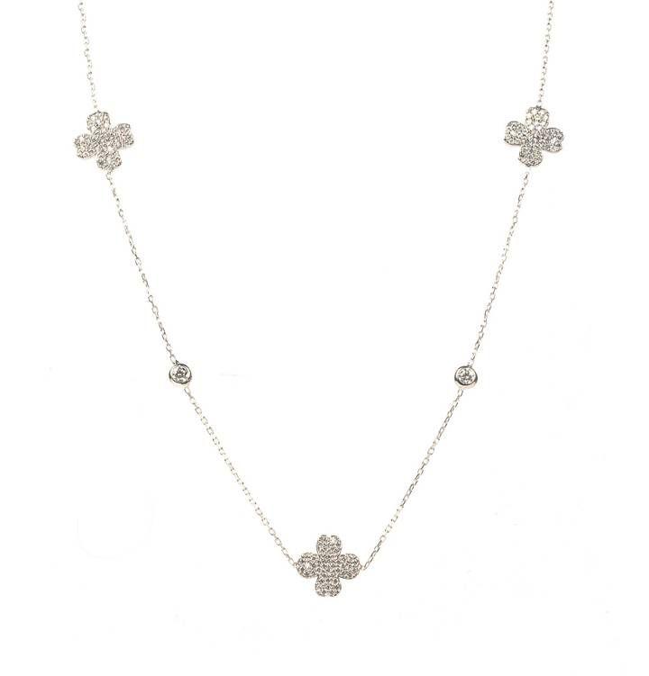 Latelita London - Lucky Clover Necklace Long Silver