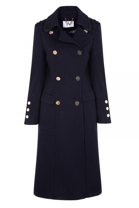 Wallis Navy Longline Double Breasted Coat, £130