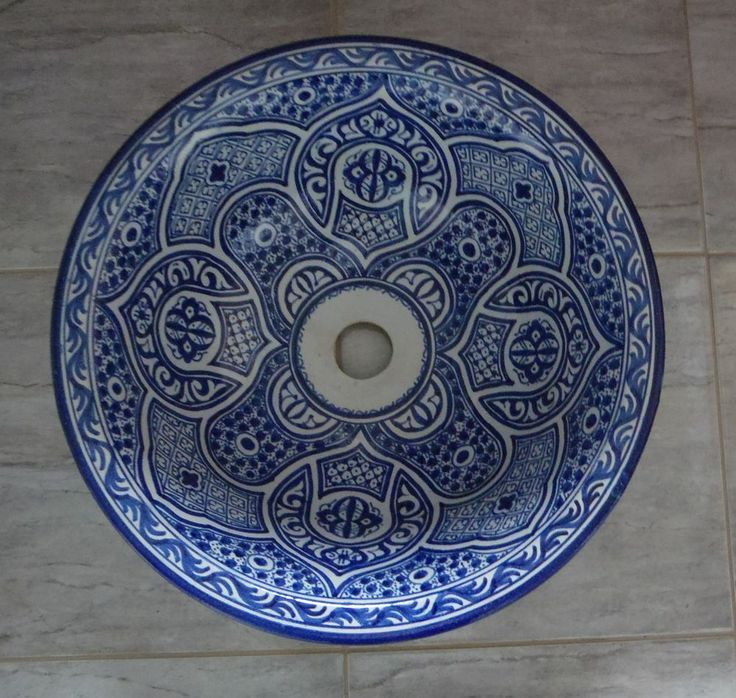 Hand Painted Ceramic Hand Wash Basin Fes Pottery 42cm