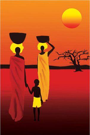 Naranja, con arte africano
