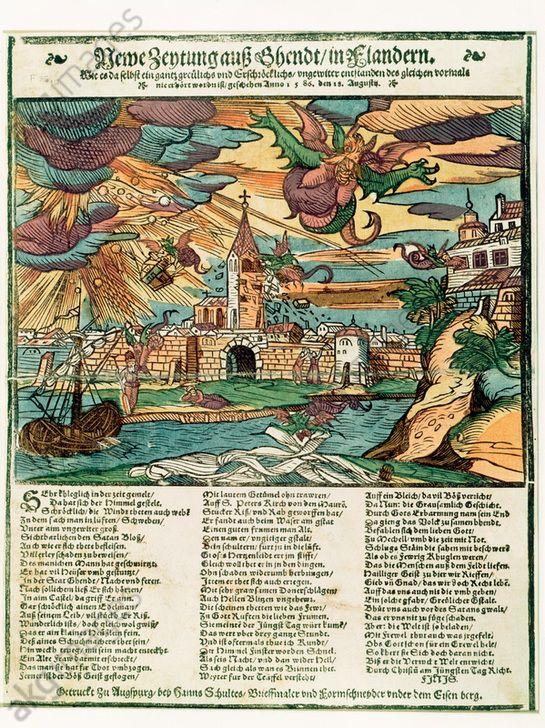 Newe Zeytung auss Ghendt. Augsburg, 1586. In de 16e eeuw gelooft men dat heksen en demonen slecht weer veroorzaken. Deze krant beschrijft de storm die de stad Gent treft op 18 augustus 1586. De illustratie toont hoe demonen en duivels een kerktoren en gebouwen verwoesten, vrouwen ontvoeren en de lakens op de bleek roven.