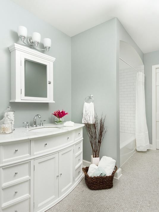 Small bathroom paint color idea- Boothbay Gray by Benjamin Moore. Looks  like a perfect grey-green :)