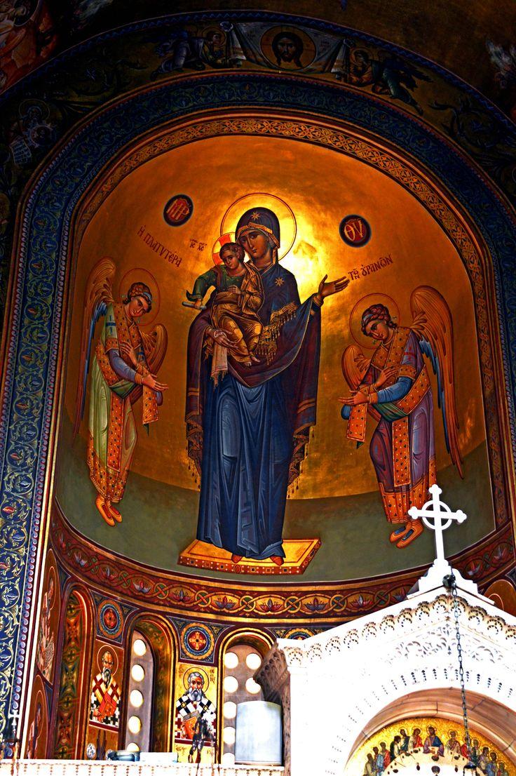 """the Panagia Dexia Church in Thessaloniki Icon of Panagia Platytera ton Ouranon, """"Panagia wider than the heavens"""""""