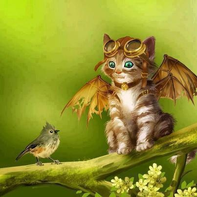Learning to Fly ~ Adrian Baluta. ~*~ here is a story of a cat who wants to fly. She's clamping on the tree, and with the improved device attempts to fly. A little bird looks at the cat and don't understand what she wants. -  Made in Photoshop