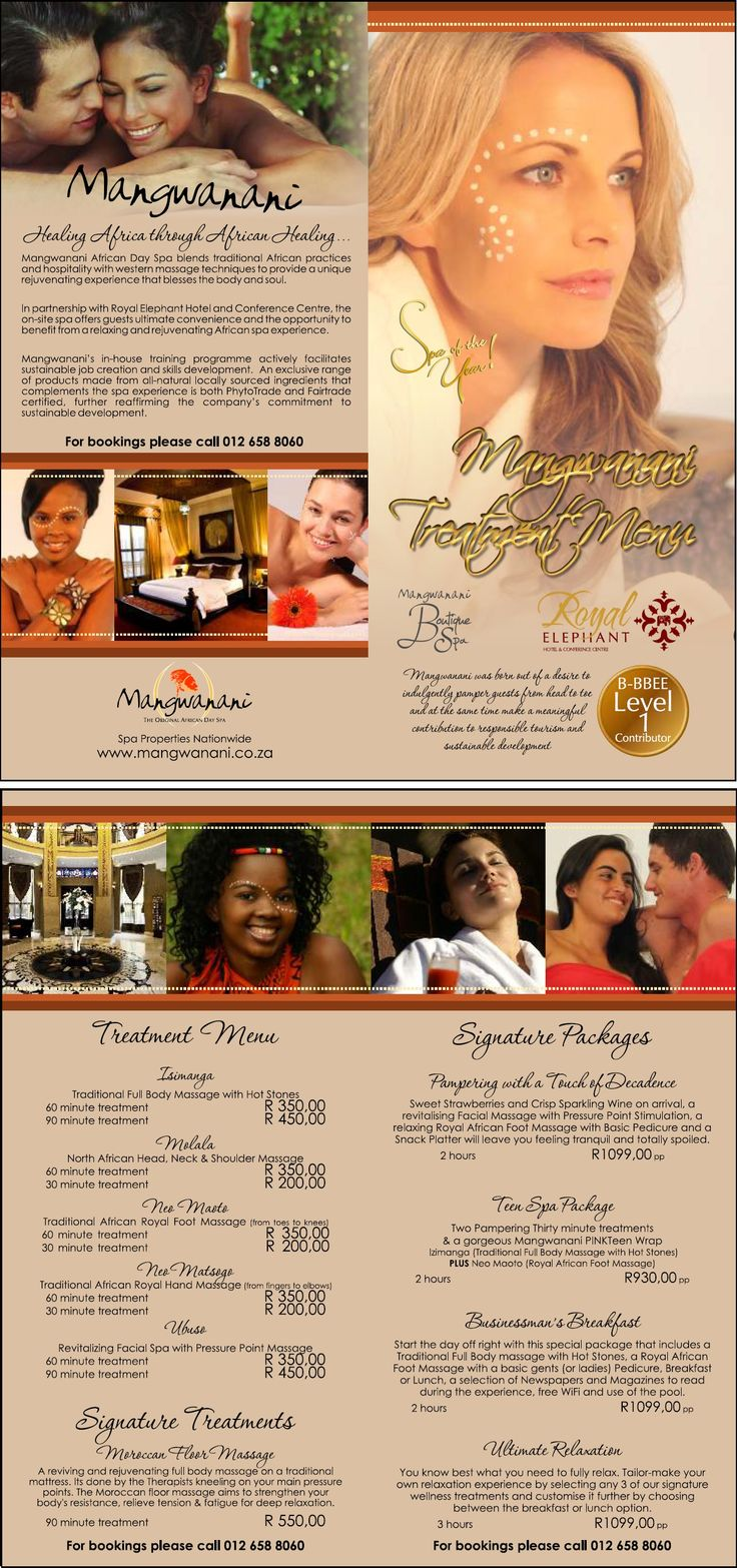 Brochure: Mangwanani Spa at Royal Elephant Hotel and Conference Centre   #wordtiffie Need similar (or other copywriting/web content) work done? Contact me - darrell@wordtiffie.co.za