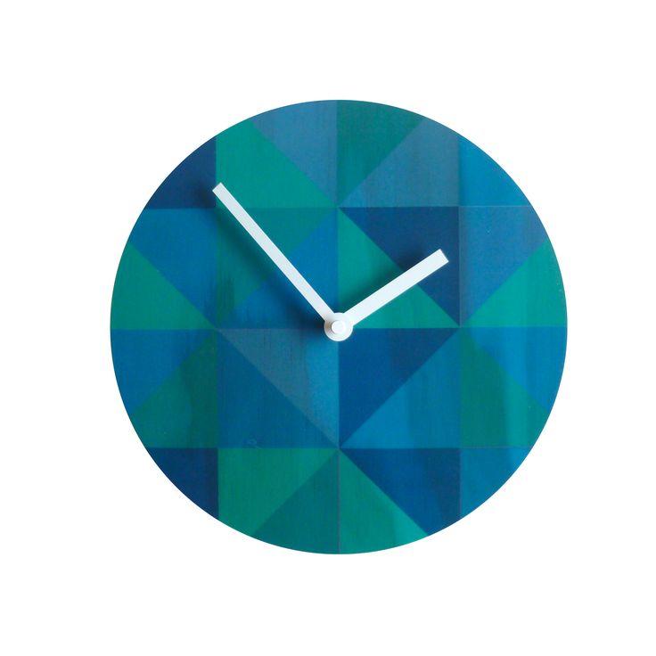 Objectify grid teal wall clock | hardtofind.