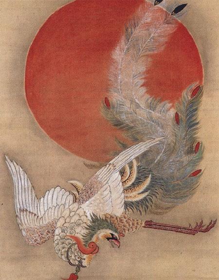 Ito Jakuchu Phoenix and Sun, detail | 12 Simurg ...